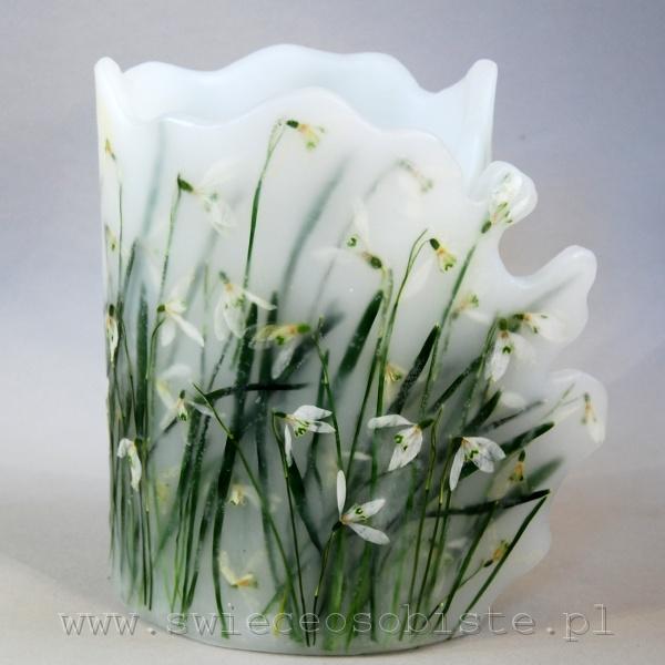 Lampion parafinowy z suszonymi przebiśniegami. Wysokość ok. 21 cm, średnica ok. 15 cm