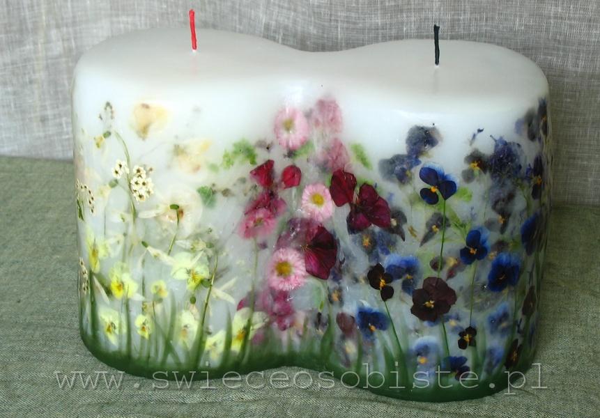 """świeca """"małżeńska"""", """"miłosna"""", ślubna, podwójna duża z różnymi kwiatami, duża"""