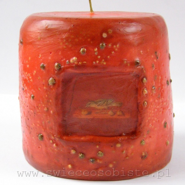 "candle with fresco ""Bird"" (Poppea's Villa), green pepper, small"
