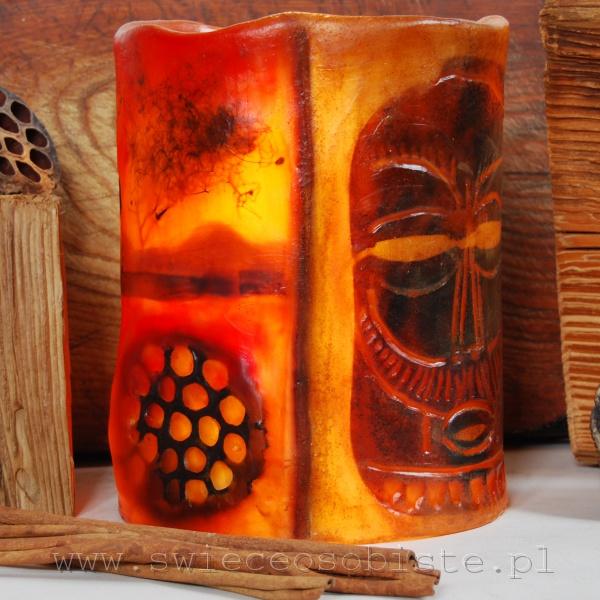 Lampion afrykański, różne motywy etniczne, wysoki ok. 22 cm, średnica ok. 17 cm