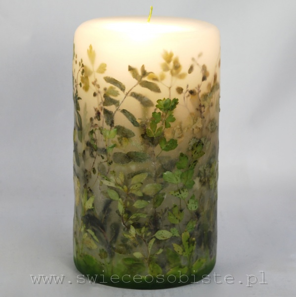 Candle with green herbs, big