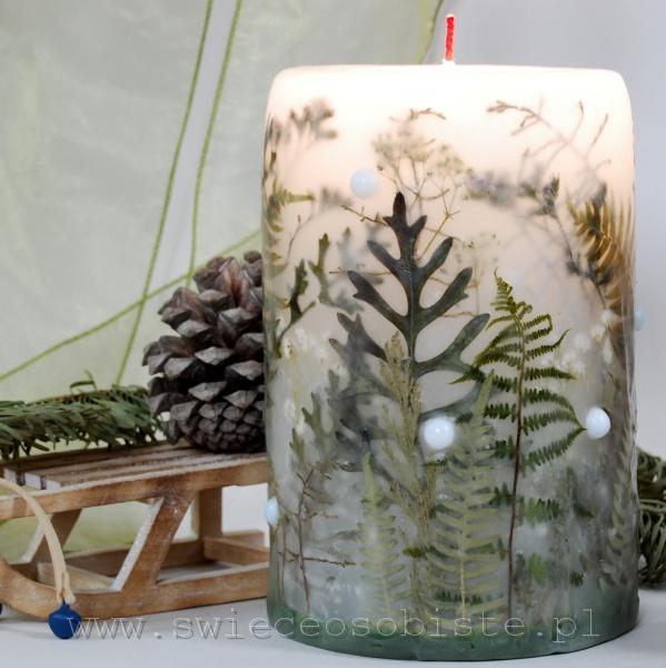 Świeca zimowa, z suszonym starcem, paprociami, zatrwianem, kalocefalusem i szklanymi kulkami, duża