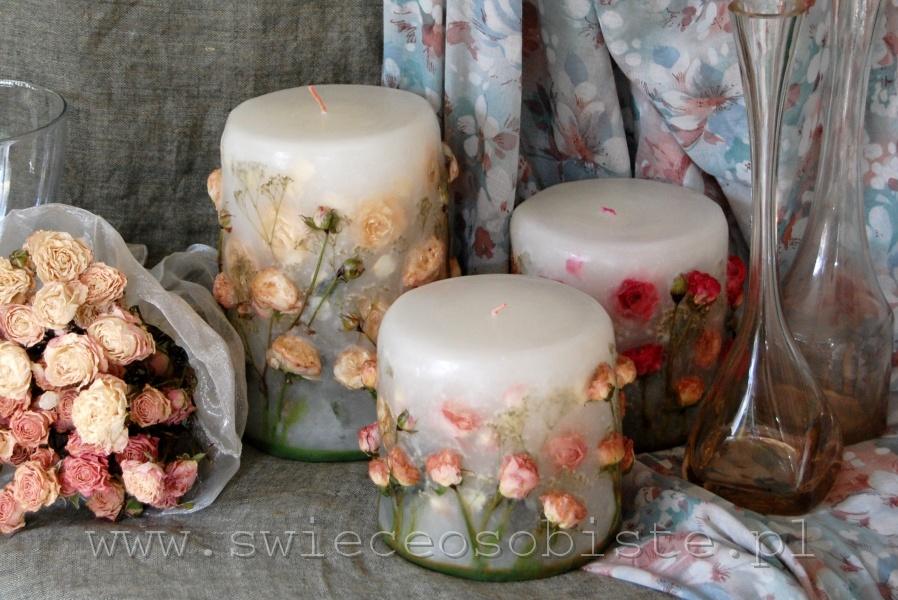 świece z różami, małe, duża