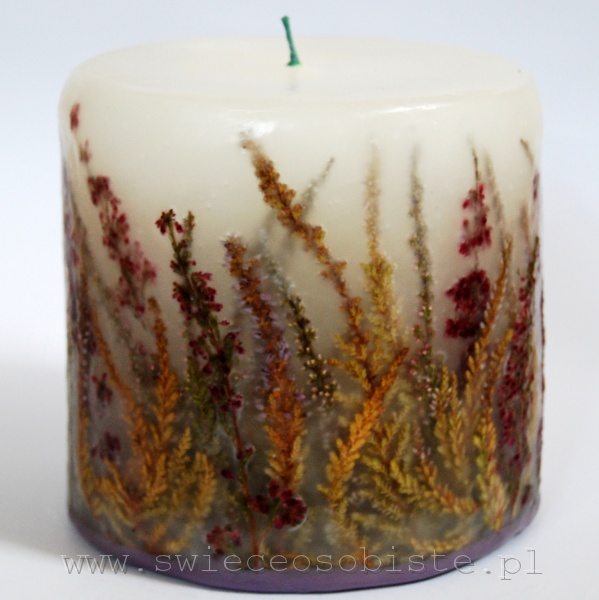 Candle with heather, small