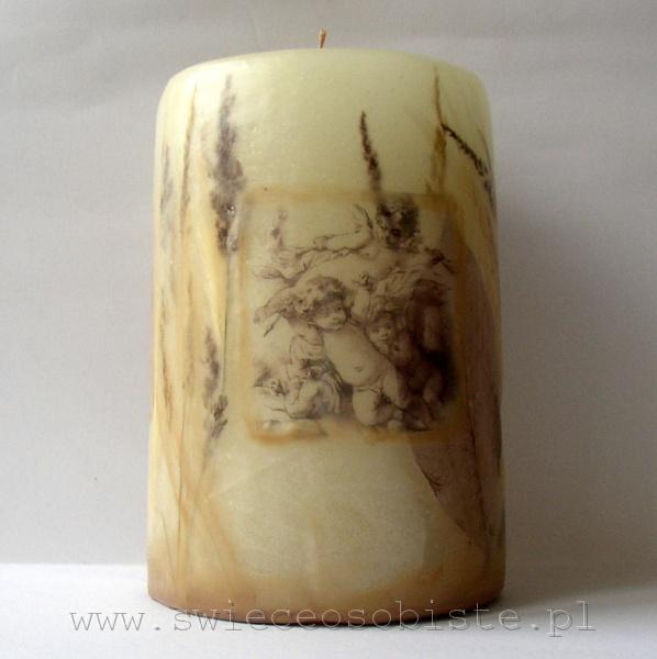 świeca z renesansową grafiką aniołków, duża
