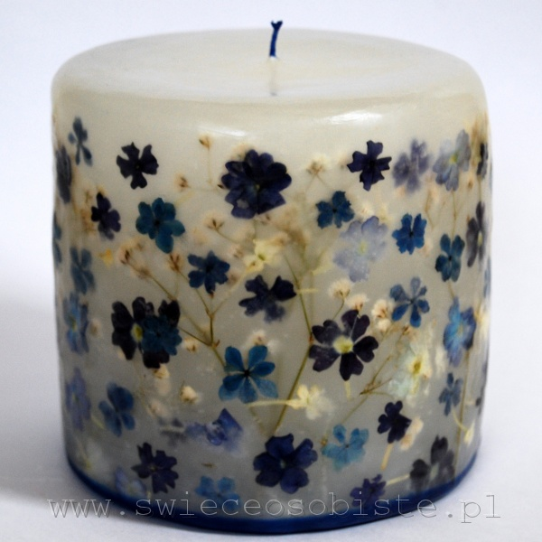 candle with verbena and hydrangea, small