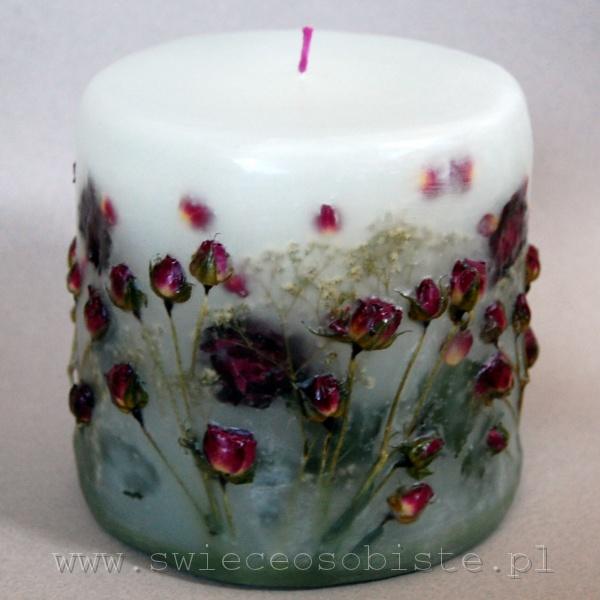 świeca z pąsowymi różyczkami, mała