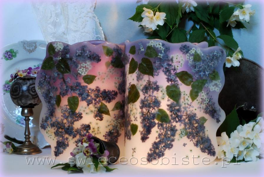 Lampiony parafinowe barwione z suszonymi kiściami bzu (lilaka) i tawułą, wysokość ok. 24 cm, średnica ok. 17,5 cm