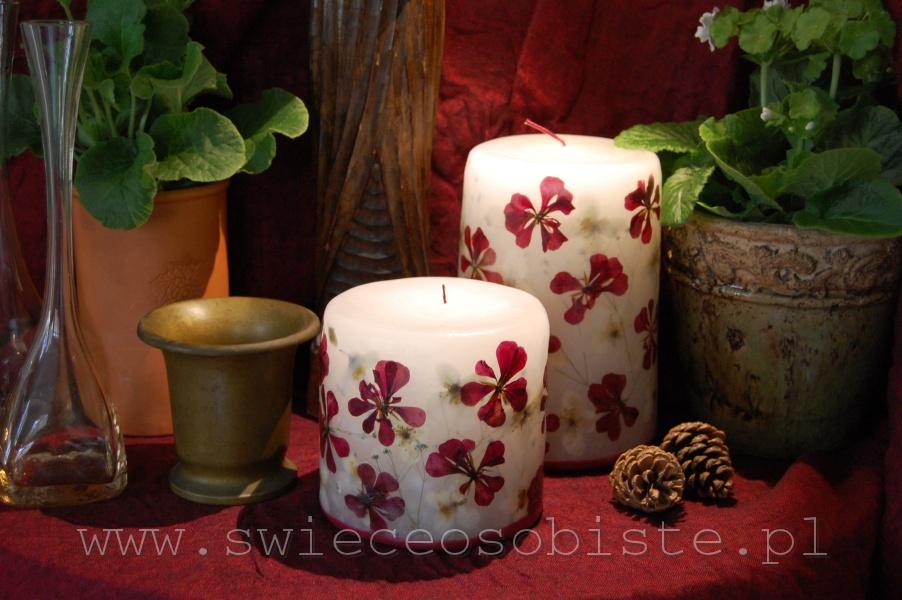 świece z czerwoną pelargonią i jaśminem, mała, duża