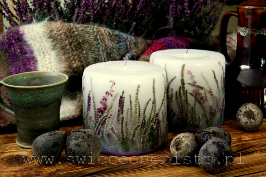 Candles with heather, small