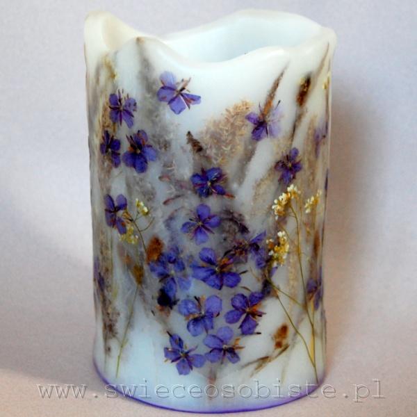 Lampion parafinowy z trawami i wierzbówką, wysokość 16 cm, średnica 13 cm