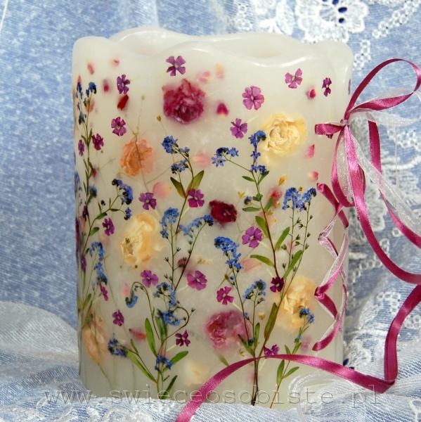 lampion z suszonymi różami, niezapominajkami i werbeną, na świeczkę lub LED, wysokość ok. 22 cm, średnica ok. 17 cm