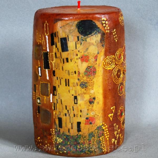 """świeca z fragmentem obrazu Gustawa Klimta """"Pocałunek"""", duża"""
