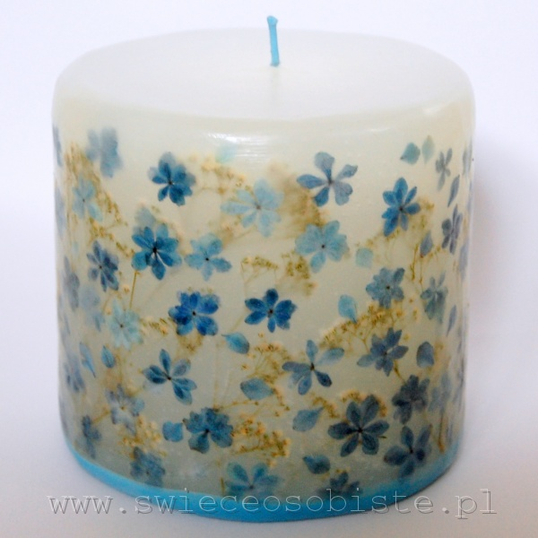 candle with hydrangea, small