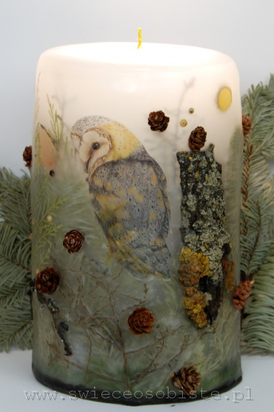 Candle with owl, big