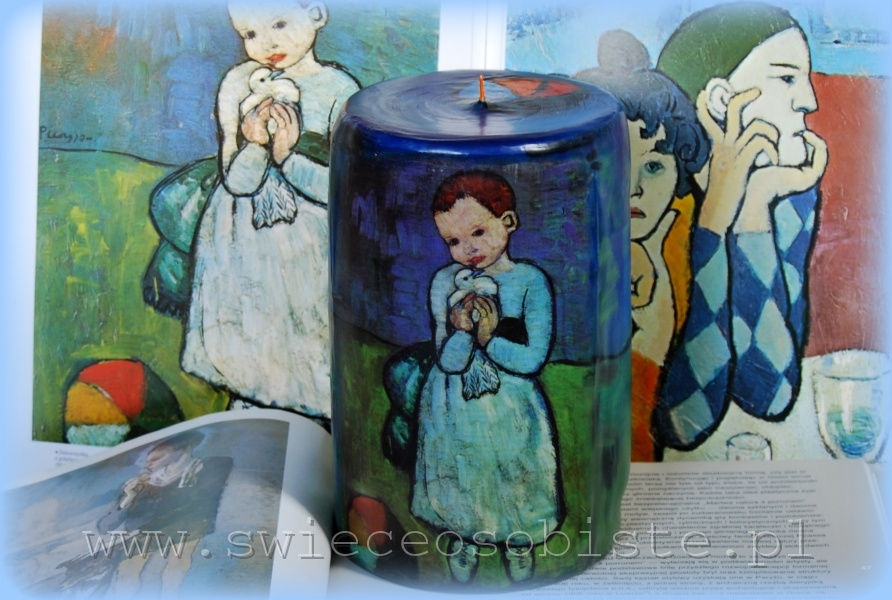 """candle with detail of Pablo Picasso's painting """"Child with a Dove"""""""