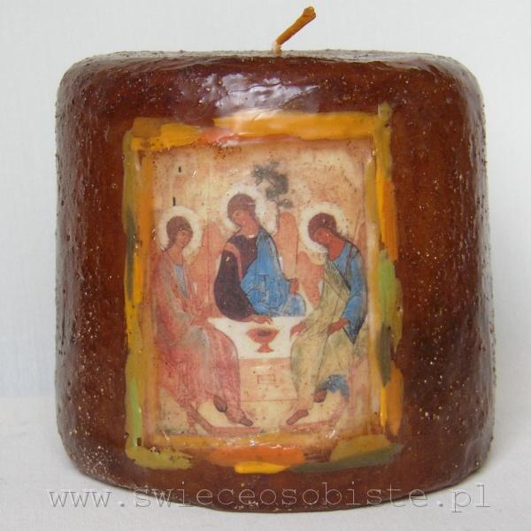"""świeca z fragmentem ikony Andrieja Rublowa """"Trójca Święta"""", mała"""