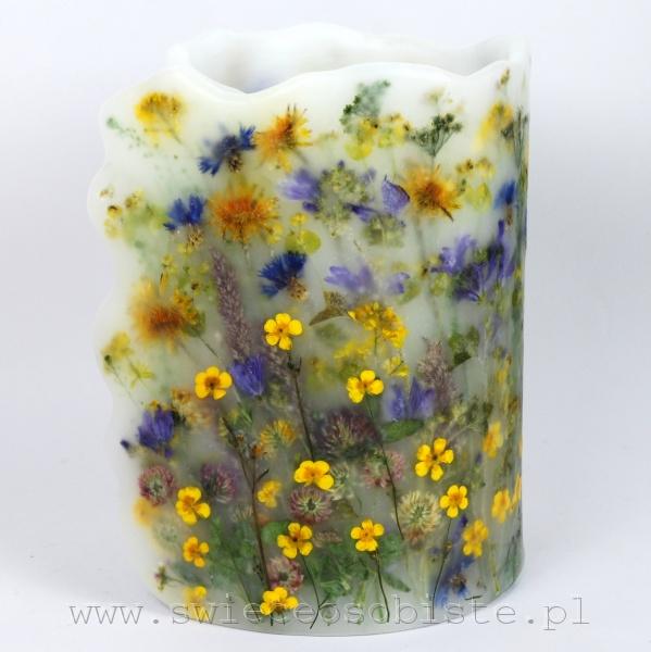"""Lampion parafinowy """"Letnia łąka"""", wysokość 25 cm, średnica 17 cm"""