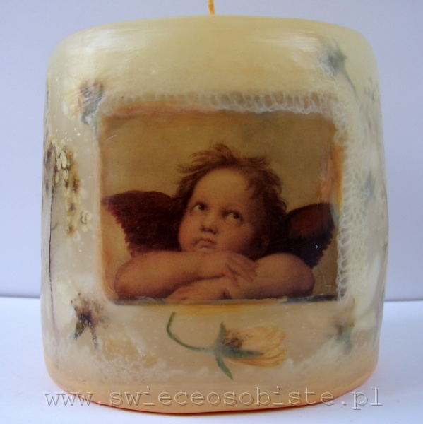 """świeca z fragmentem obrazu Rafaela Santi """"Madonna sykstyńska"""", z koronką, mała"""