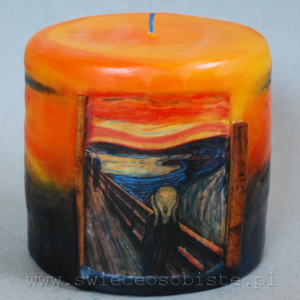 """świeca z reprodukcją """"Krzyku"""" Edvarda Muncha, mała"""