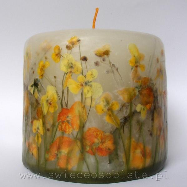 świeca z żółtymi i pomarańczowymi bratkami, mała