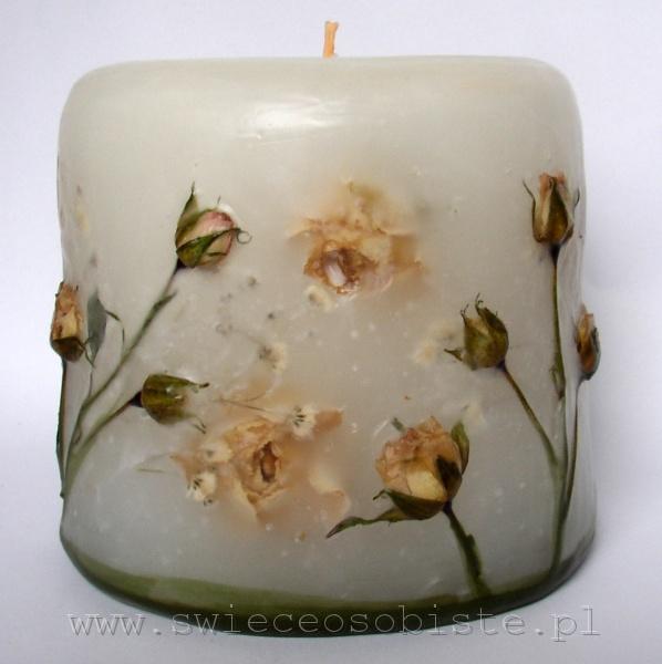 świeca z różyczkami ecru, mała
