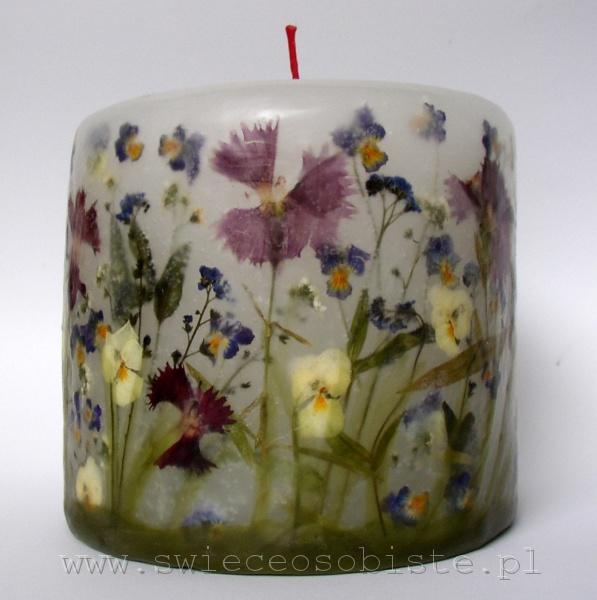 """świeca """"Ogródek"""" z różnymi kwiatami, mała"""