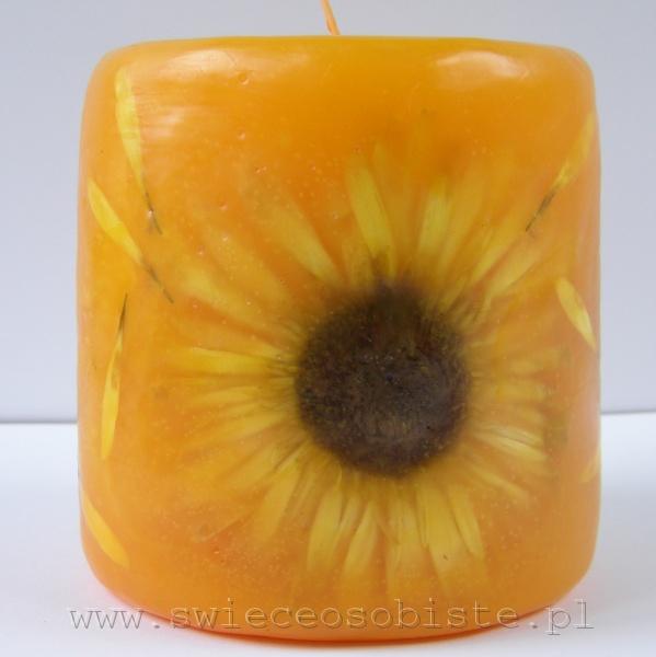 żółta świeca z gerberą, mała