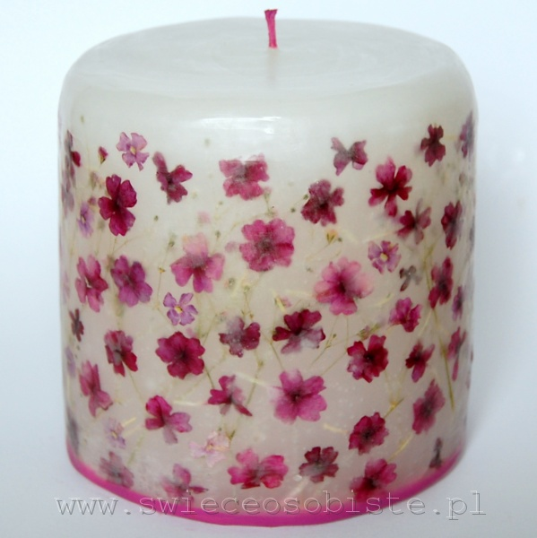 candle with pink verbena, small