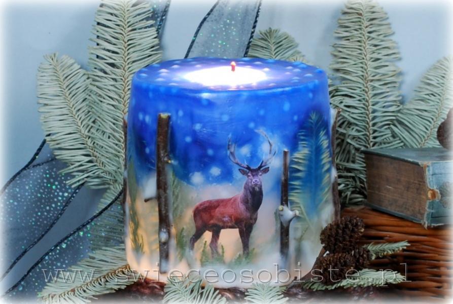 Świeca z papierowym jeleniem i sową, gałązkami i jodłą, mała