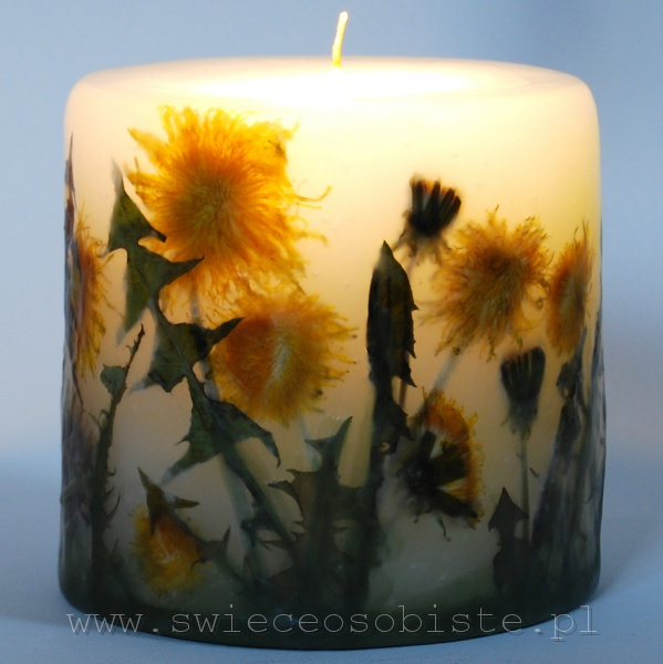 candle with dandelions, small