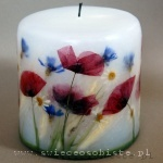 candle with poppies, small