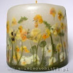 candle with yellow and white pansies, small
