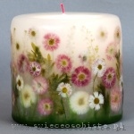 Candle with daisies, small