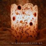 lampion różany, ażurowy, wiązany wstążką, na świeczkę lub żarówkę ledową, wysokość 23 cm, średnica ok. 16 cm