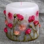 candle with pink roses, small