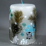 "winter candle with paper characters from ""Moomins"" Tove Jansson, crochet snowflake and glass drops, big"