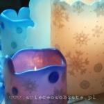 Lampiony parafinowe z szydełkowymi śnieżynkami, szklanymi kamykami i koralikami, różnej wielkości