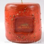 "candle with fresco ""Bird"" (Poppea's Villa), green pepper, small"