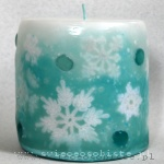 "winter candle, ""frosty"", with crochet snowflakes and glass drops, glass drops, small"