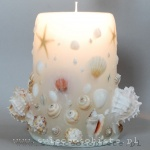 candle with shells, white, big