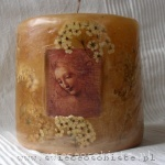"candle with Leonardo da Vinci's painting ""Head of dishevelled young lady"", small"