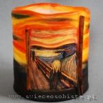 Lampion z reprodukcją Krzyku Edvarda Muncha, barwiony, wysokość 16 cm, średnica 14 cm