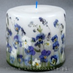 Candle with blue pansies, small