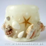 candle with shells, white, small