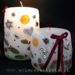 Christmas candles with gingerbread, anis, mandarin and holly, big and small