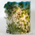 Lampion parafinowy z suszonymi roślinami, wysokość 23 cm, średnica 16,5 cm