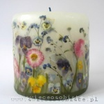 candle with flowers, small