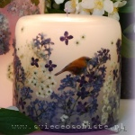 candle with paper nightingale and lilac, small