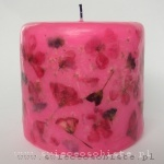 pink candle with geranium, small